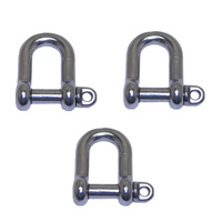 3 PACK BRIDCO D SHACKLE STAINLESS STEEL 6MM,7MM,8MM,10MM,12MM,16MM,19MM (A-2360)
