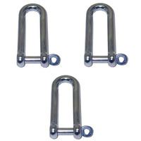 3 PACK BRIDCO LONG D SHACKLE CAPTIVE PIN - STAINLESS STEEL 6MM,8MM,10MM,12MM (A-2362)