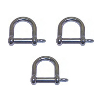 3 PACK BRIDCO D SHACKLE WIDE - STAINLESS STEEL 8MM OR 12MM (A-2367)