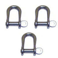3 PACK BRIDCO D SHACKLE SEMI ROUND - STAINLESS STEEL 5MM OR 6MM (A-2368)