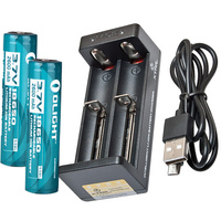 OLIGHT UNIVERSAL DOUBLE LITHIUM 18650 BATTERY & CHARGER KIT (BAT-MC2K)