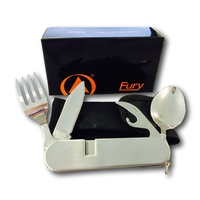 FURY CAMPING UTENSIL (44470) - KNIFE, FORK, SPOON, CAN OPENER, BOTTLE OPENER