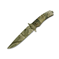 FURY CAMOUFLAGE HUNTING KNIFE - FULL TANG - WOODLAND STYLE CAMO (75582)
