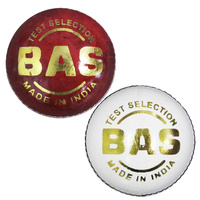 BAS TEST SELECTION - 4PC CRICKET BALL - CABLE STITCHING - WHITE OR RED
