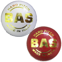 BAS HARD PITCH 2PC CRICKET BALL - CABLE STITCHING - WHITE OR RED