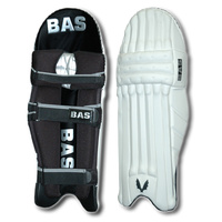 BAS PLAYERS CRICKET LEG GUARDS - BLACK / SILVER - LIGHTWEIGHT - RH / LH