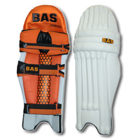 BAS LEGEND GOLD CRICKET LEG GUARDS - ORANGE / BLACK - HDF - RH / LH