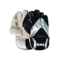 BAS PLAYERS CRICKET WICKET KEEPING GLOVES - BLACK / SILVER (CBWKGPE1M)