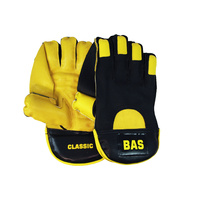 BAS CLASSIC CRICKET WICKET KEEPING GLOVES - BLACK / YELLOW - MENS / YOUTH / BOYS