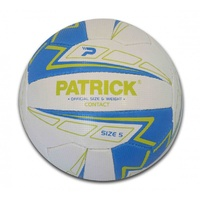 PATRICK CONTACT NETBALL - WHITE/BLUE/LIME - OFFICIAL SIZE & WEIGHT