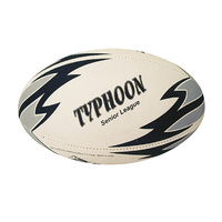 PATRICK TYPHOON RUGBY LEAGUE BALL - WHITE / BLACK - SIZES 3 / 4 / 5
