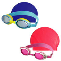 SWIMFIT KIDS SWIM SET - JUNIOR - PINK OR BLUE - GOGGLES & SWIMMING CAP