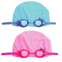 SWIMFIT KIDS EZ SWIM PRO SET - JUNIOR - PINK OR BLUE - GOGGLES & SWIMMING CAP