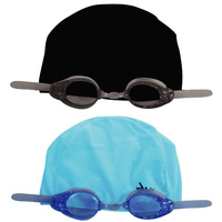 SWIMFIT EZ SWIM PRO SET - SENIOR - BLACK OR BLUE - GOGGLES & SWIMMING CAP