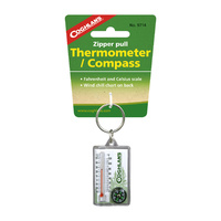 COGHLANS ZIPPER PULL THERMOMETER WITH COMPASS - °F AND °C SCALE (COG 9714)