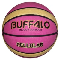BUFFALO SPORTS CELLULAR RUBBER BASKETBALL - PINK / CREAM - SIZE 5 / 6 / 7