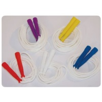 BUFFALO SPORTS SKIPPING ROPE - WHITE ROPES COLOURFUL HANDLES