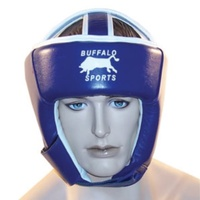 BUFFALO SPORTS LEATHER BOXING HEAD GUARD - RED / BLUE - MULTIPLE SIZES (BOX081)