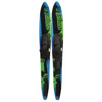 "TEST PILOT SHAPED ADULT COMBO WATER SKIS - ADJUSTABLE BINDINGS - 60"" LENGTH"