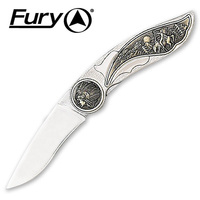 FURY INDIAN SITTING BULL POCKET KNIFE - 110MM WHEN CLOSED (11041)