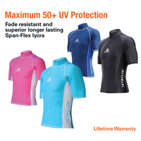 LAND & SEA JUNIOR SHORT SLEEVE RASH VEST - OFFERS UV50+ PROTECTION