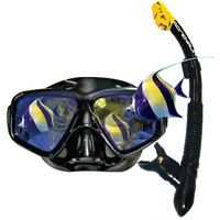 LAND & SEA BLACK MIRROR POLYCHROMATIC LENS MASK & SNORKEL SET - HIGH QUALITY
