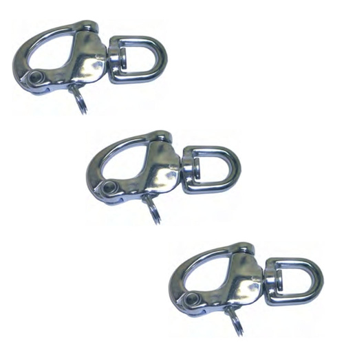 3PK BRIDCO SNAP SHACKLE SWIVEL EYE STAINLESS STEEL- 70MM, 90MM OR 130MM (A-2482)