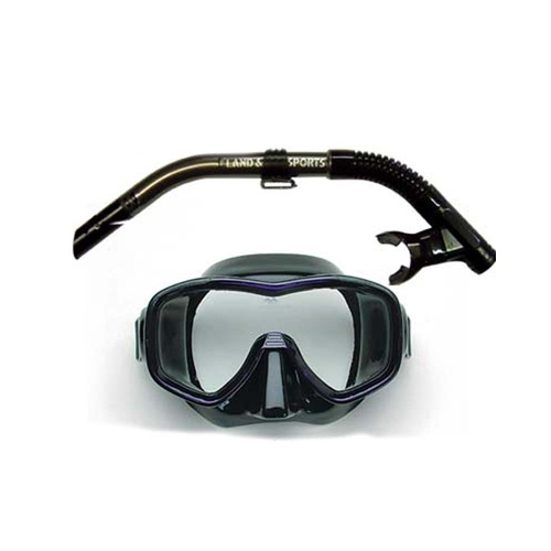 LAND & SEA ARISTOCRAT BLACK SINGLE LENS MASK & SNORKEL SET - SUPERB FIT