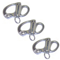 3 PK BRIDCO SNAP SHACKLE FIXED EYE STAINLESS STEEL - 50MM, 70MM OR 95mm (A-2481)