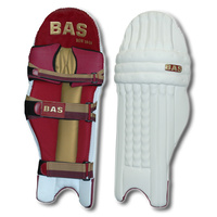 BAS BOW CRICKET LEG GUARDS - MAROON / GOLD - HIGH DENSITY FOAM - RH / LH