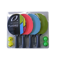ALLIANCE 4 PLAYER FLUORO TABLE TENNIS SETS - 4 BATS / 4 BALLS (TTASET4F)