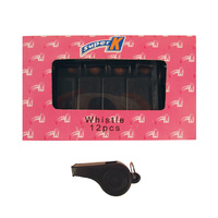 SUPER K BLACK PLASTIC WHISTLE WITH NO LANYARD - BOX OF 12 (SAWPB)