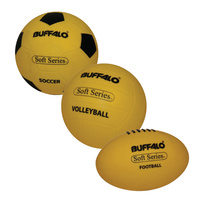 BUFFALO SPORTS SOFT SERIES SPORTS BALLS - SOCCER / VOLLEYBALL / FOOTBALL