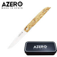 AZERO CURLY BIRCH WOOD THIN POCKET KNIFE - 171MM OVERALL LENGTH (A170123)
