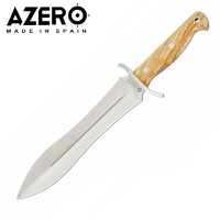 AZERO OLIVE WOOD HANDLE HUNTING KNIFE - 375MM OVERALL LENGTH (A234011)