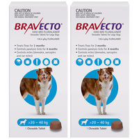 Bravecto Dog Chew Tick & Flea Treatment for 20-40kg Large Blue 2 Pack B0204x2