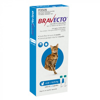 Bravecto Cat Spot On Tick & Flea Treatment 2.8-6.25kg Medium Blue 2 Pack B0207