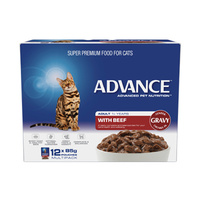 ADVANCE 1+ Years Adult Cat With Beef In Gravy 12x85g  (CA85ACBG12X85)