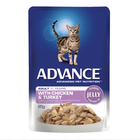 ADVANCE 1+ Adult Cat With Chicken & Turkey In Jelly 12x85g (CA85ACCTJ12X85)