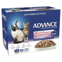ADVANCE 1+ Years Adult Cat Multi Pack Tender Chunks In Jelly 12x85g  (CA85ACMPTCJ12X85)