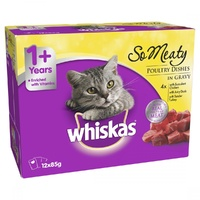 WHISKAS OH SO MEATY MEAT VARIETY 12X85G (384496) (CW85OSMMVX12)