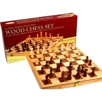 "CHESS SET,WOOD,18"" INLAID BRD. (HSN00156)"