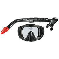 LAND & SEA BLACK MARLIN FRAMELESS SILICONE MASK & SNORKEL SET - SUPERB FIT
