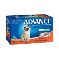 ADVANCE ADULT CAT CHICKEN & LIVER MEDLEY 85G 7'S (W5356)