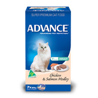 ADVANCE ADULT CAT CHICKEN & SALMON MEDLEY 85G 7'S (W5357)