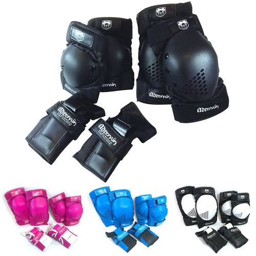 Adrenalin Skate Protection Elbow, Knee Pads & Wrist Brace Guards 6 Piece Set